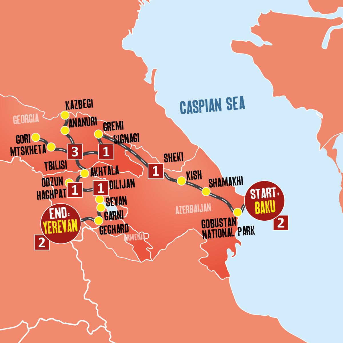 Georgia Eastern Europe Map.Guided Tours To Azerbaijan Georgia Armenia Expat Explore