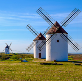 View of windmills in Castilla La Mancha, Spain
