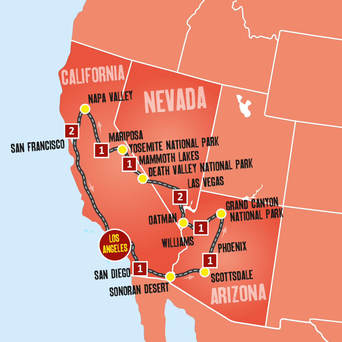Map Of America Los Angeles.Usa Vacation Packages Coach Tours Expat Explore
