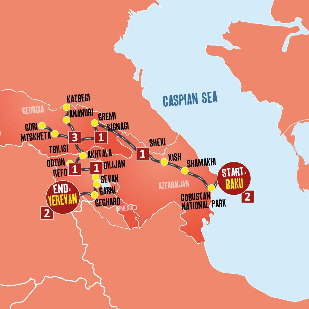 Map Of Georgia 7 Wonders.Guided Tours To Azerbaijan Georgia Armenia Expat Explore