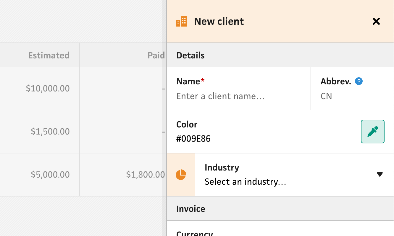 Clients section client form fields