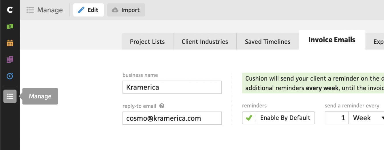 manage invoice emails