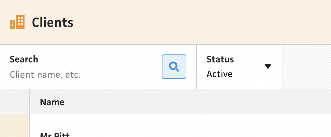 Clients section filtering