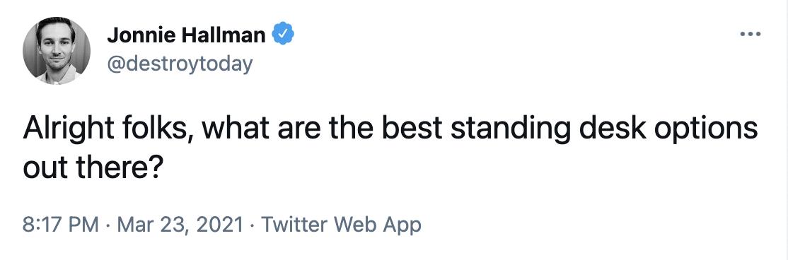 standing desk tweet