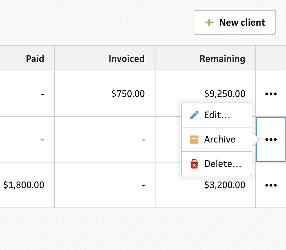 Clients section context menu
