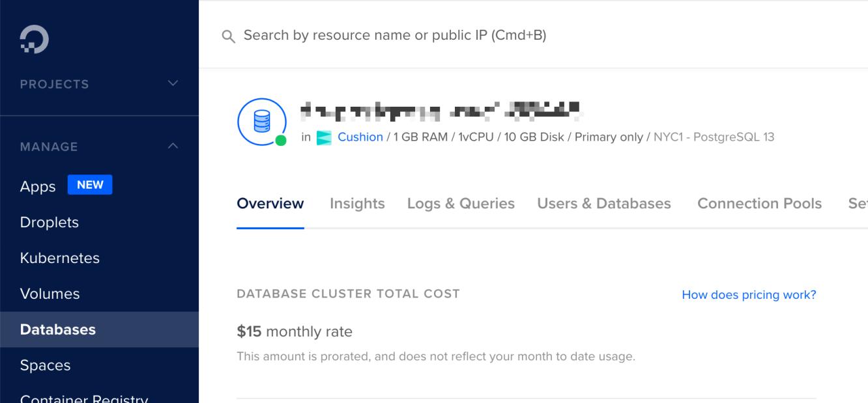 digital ocean database