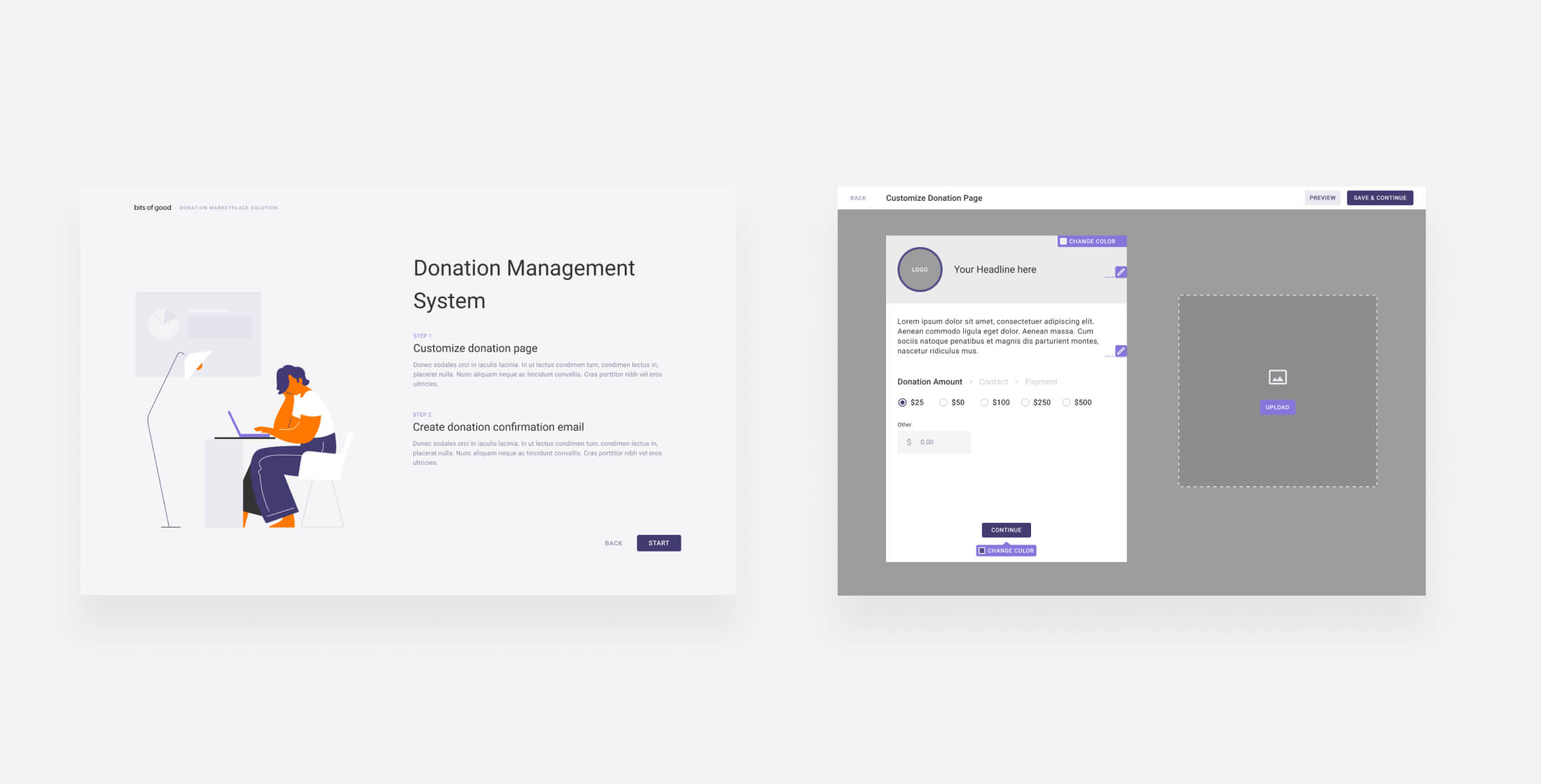 Mockups for DMS login and donation dashboards
