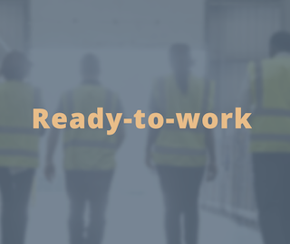 "workers walking away from camera, with overlay text ""ready to work"""