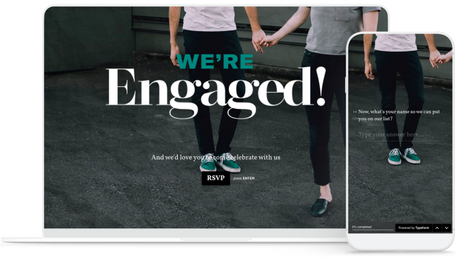 Engagement party invitation on laptop and phone