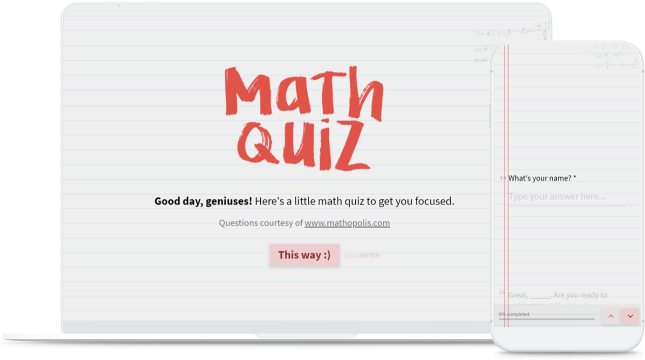 Online Math Quiz Template | Typeform Templates