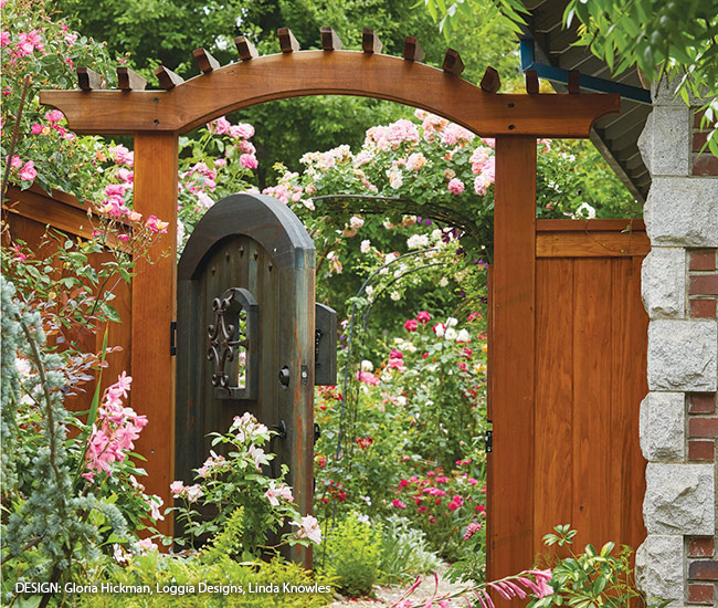 Peek at a Rose Garden through a garden gate: A custom gate welcomes visitors to the backyard, offering a hint of the vibrant colors and beauty to be found beyond.