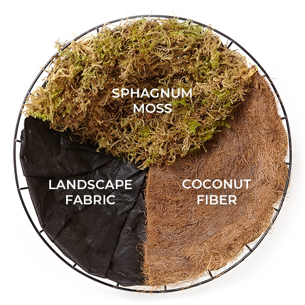 hanging-basket-liner-options-comparison: Here you can see a comparison between sphagnum moss, landscape fabric, and coconut fiber hanging basket liners.