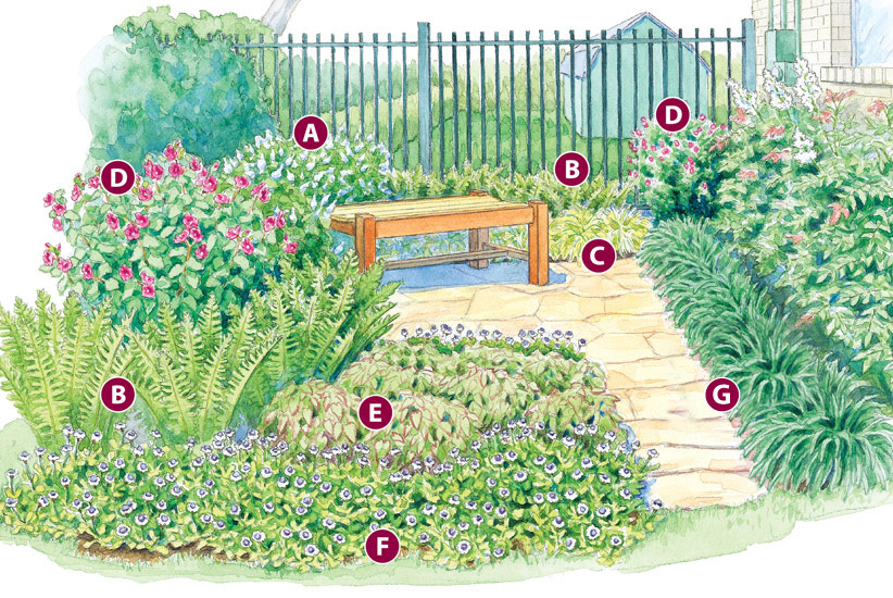 shady-retreat-garden-plan-lettered2:The Turk's cap, frogfruit and rock rose in this plan are great nectar sources for hummingbirds and butterflies.