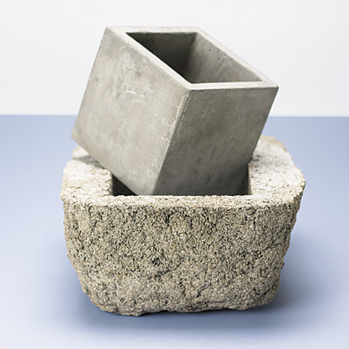 concrete garden containers: Concrete garden containers are trendy because they fit well with a modern or contemporary garden style.