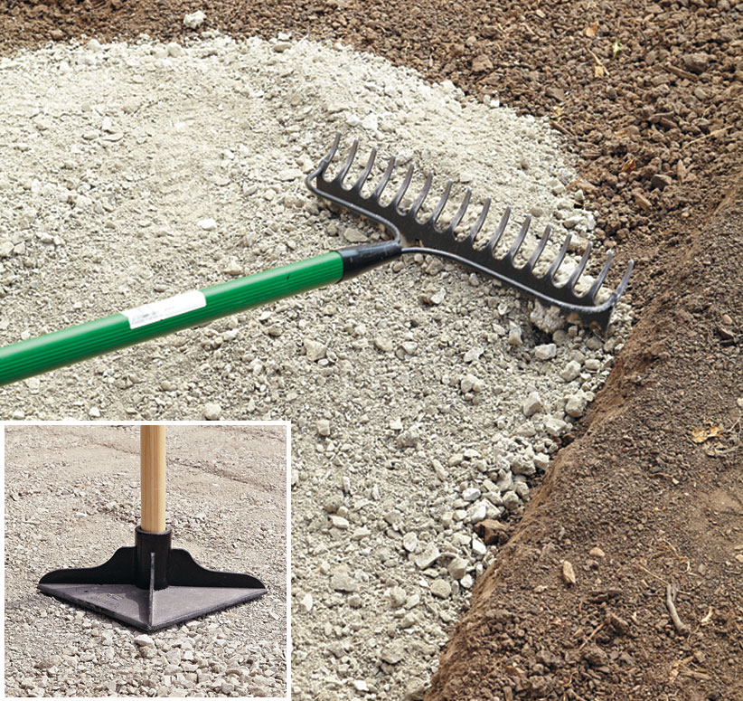 di-how-to-install-patio-step4: Once the gravel is in place, rake it smooth, check for level and tamp it.