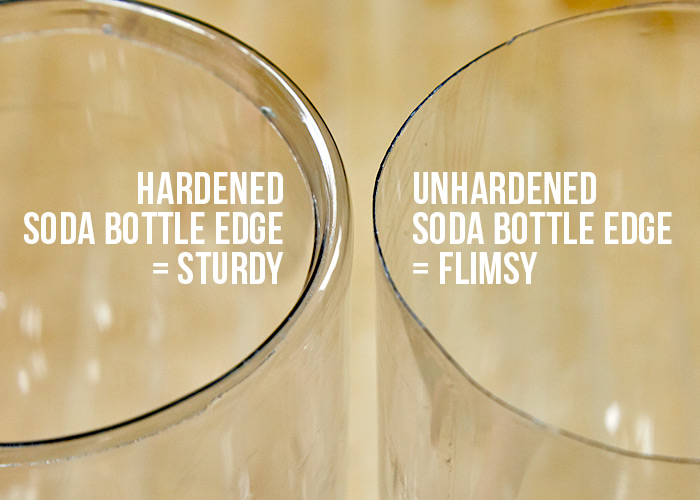 Soda-bottle-cloche-hardened-vs-unhardened-edge: The hardened edge on the left created by melting and shaping the plastic will be sturdier when placed in the garden.