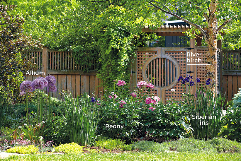 6-ways-to-create-a-beautiful-spring-garden-add-structure-labeled: Plants come in different shapes and sizes. Take advantage of this to add interest. In this garden, upright allium and Siberian iris are exclamation marks among the other more mounding forms.