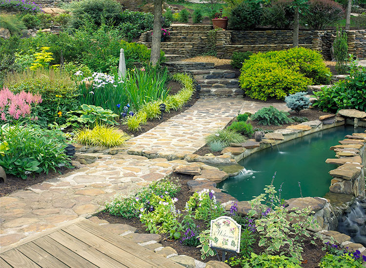 Burdick-shade-garden-stairway:Stones set in mortar help ensure solid, secure footing. These steps and paths were created from rocks excavated during grading.