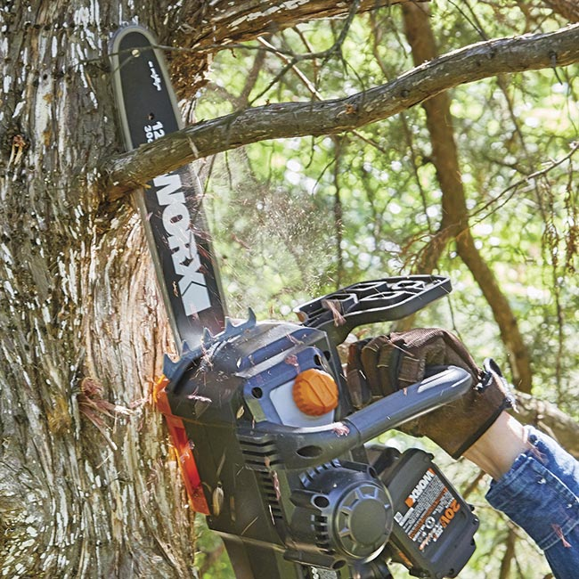 battery-powered-chainsaw-in-action: Two 20-volt batteries give you more power.