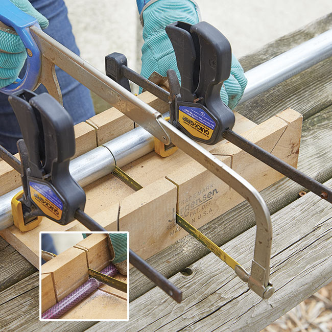 cutting conduit and fiberglass stakes: Clamp conduit pipe and fiberglass stakes to a miter box while cutting them with a hacksaw.