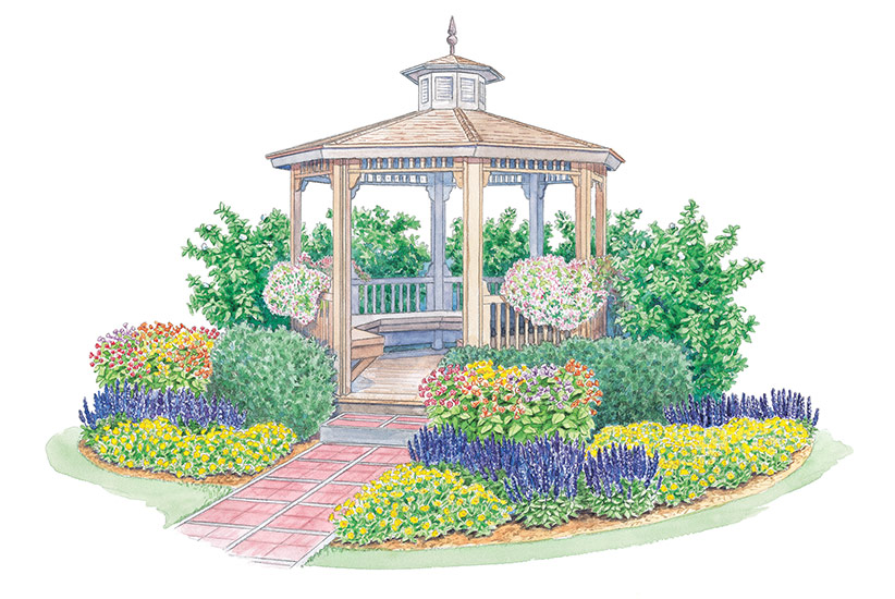 gazebo-garden-plan-Lead: This colorful planting adds interest around a garden gazebo.
