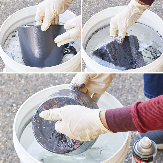 submerge-pot-in-water-to-marbleize: Submerging and lifting the clay pot should be done slowly.
