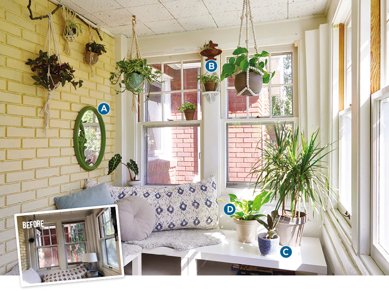 Decorating with Houseplants in a sunroom: Plant hangers create a lush look in a room of windows and little floor space. Hang them with ceiling hooks, mount them on curtain rods, or use a sturdy branch.