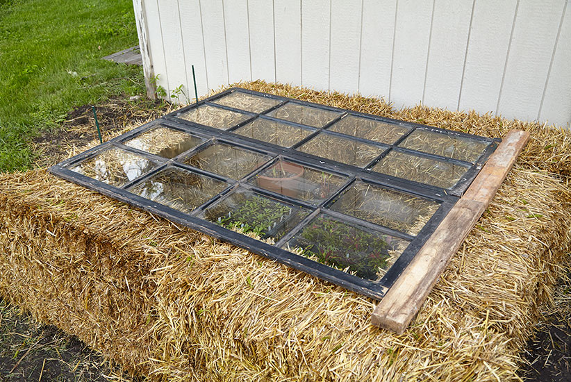diy-cold-frames-straw-bales-photo: You may need to start with the windows closed to keep temperatures inside the cold frame in the perfect range.