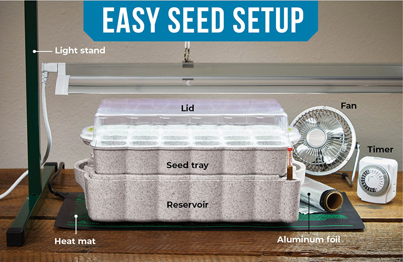 starting-seeds-indoors-convenient-easy-seed-starting-setup: This seed-starting setup is built for convenience.