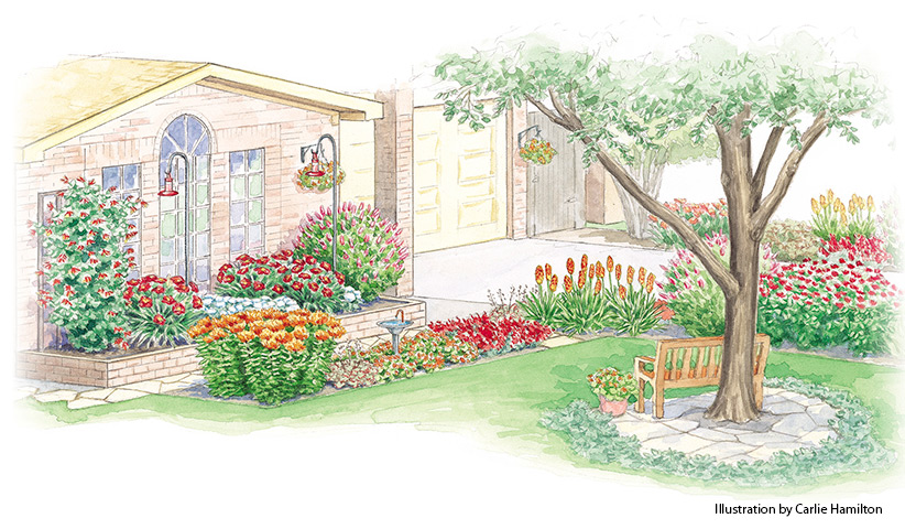 hummingbird-garden-plan-overall: This beautiful garden plan is full of plants that are sure to attract more hummingbirds.