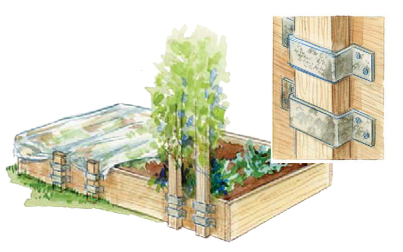 Illustration showing use of brackets on raised garden bed: Adding brackets to a raised bed makes it easy to add trellising or row covers every year.