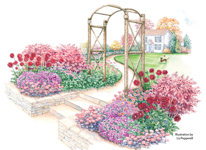 fall-flowers-garden-plan-lead-rev: Huge dahlias, medium-sized anemones and tiny asters make this a stunning fall garden to flank an entry.