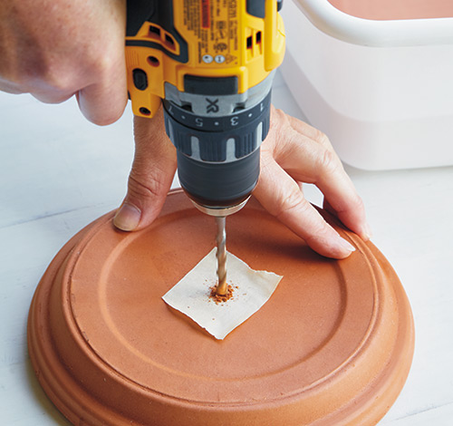 how-to-make-terra-cotta-birdfeeder-drill-holes-in-saucers-after-soaking:  Soak the saucers the night before to avoid issues when drilling the holes.