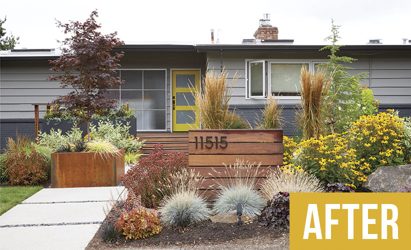 mid-century-makeover-after: Long-lasting flowers and plenty of easy-care foliage keep this mid-Century modern garden looking gorgeous all year.