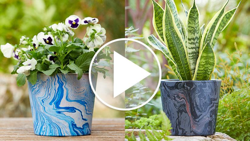 DIY Marbleized Terra-Cotta Pots
