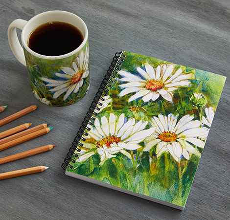 Garden journal and matching mug with daisy print