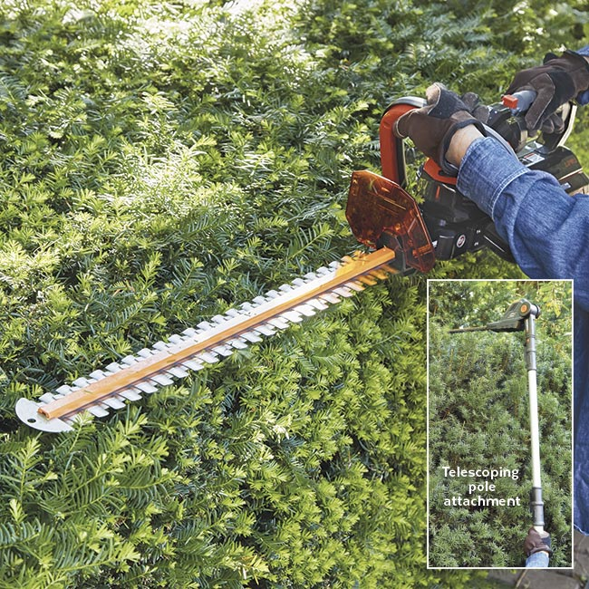 battery-powered-hedge-shear-in-action: Some hedge trimmers have a big 62-volt battery for heavy-duty jobs and long run time.