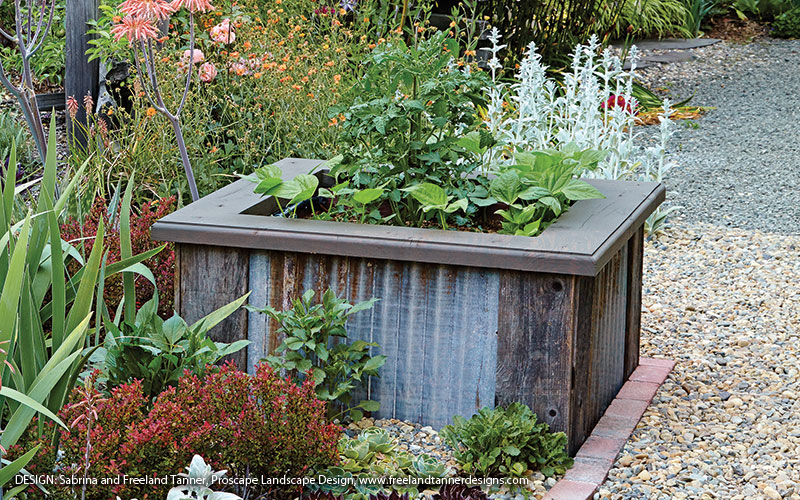 Raised garden bed made out of metal: Corrugated steel raised beds add an industrial chic look to a garden.