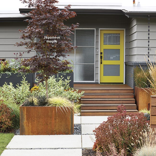 mid-century-easy-access-to-front-door: Make the front walk wide enough to allow room for plants to spill over the sides and soften the lines.