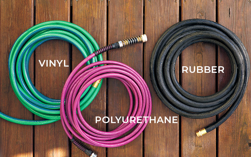 Different types of garden hoses Polyurethane, rubber and vinyl