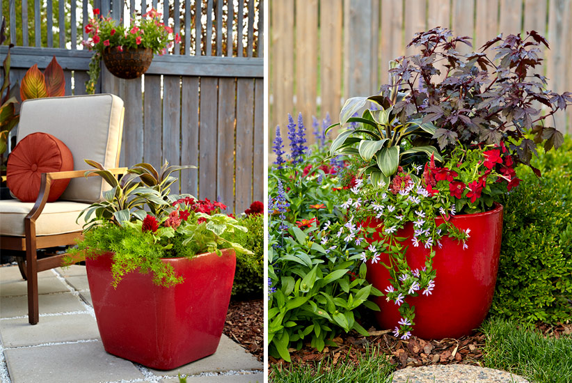 patio-design-ideas-containers: Colorful containers that match your patio color scheme are a great way to add a pop of color and more plants to your patio space.