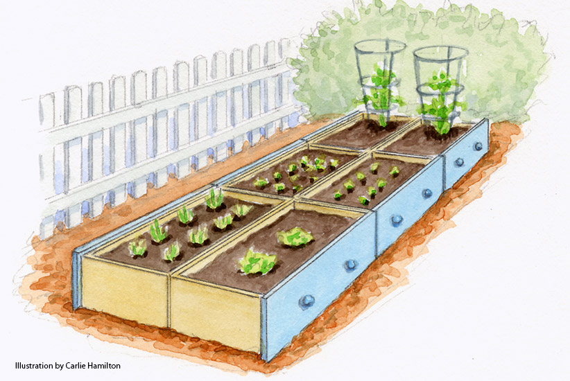Illustration of dresser drawers repurposed as raised garden beds: Use old dresser drawers to make raised garden beds.