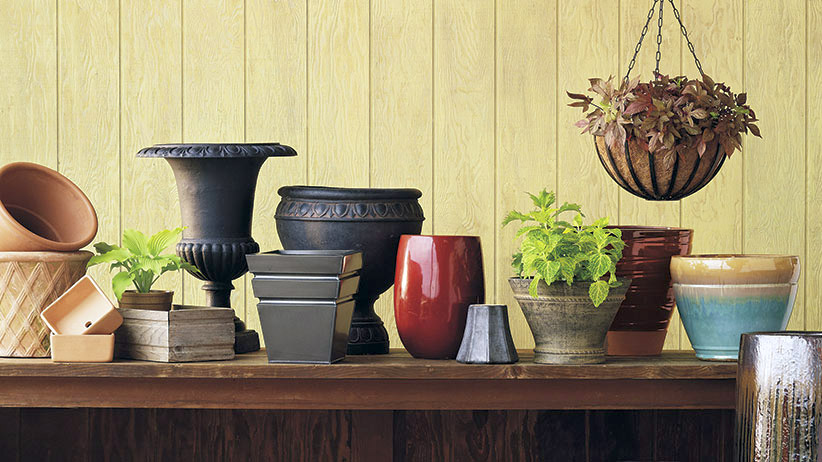 assortment of garden containers: From clay to concrete, garden containers come in an array of materials.