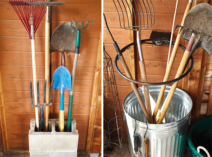 budget-friendly-tips-for-storing-garden-tools-DIY-storage: Using concrete blocks or an old basketball hoop are clever ways to keep your tools organized.