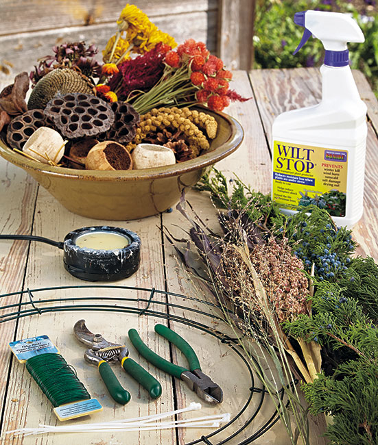 bird-feeding-wreath-materials: Here are the materials you will need to construct your bird-feeding wreath.