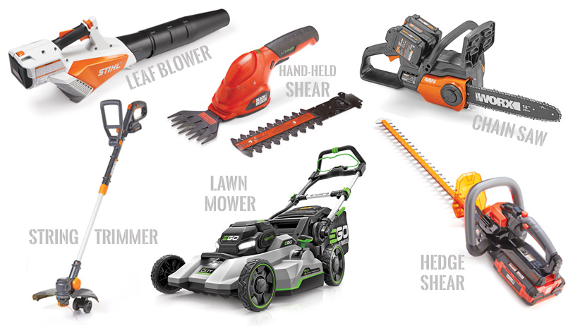 Collage of Battery-powered garden tools: There are a wide arraw of battery-powered garden tools available and are often less expensive.
