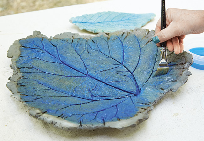 painting-sand-cast-leaf: Acrylic paint is easy to use and cleans up with water.