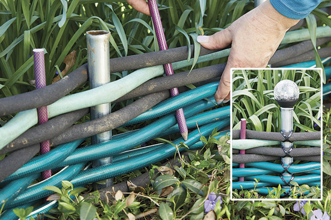 add details with solar lights and criss-cross cable ties : Place outdoor solar lights (on stakes) into alternating conduit pipes to add a decorative element and  to illuminate pathways.