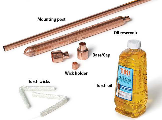 copper-torches-supplies: The pipe (mounting post), air chamber (oil reservoir), reducers (base/cap), bushing (wick holder) and wicks are shown here.