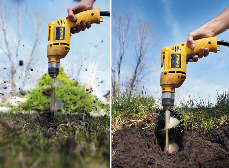 Bulb auger drill attachment: Attached to either a corded or cordless drill, a bulb auger makes lots of planting holes quickly in garden soil or lawns.
